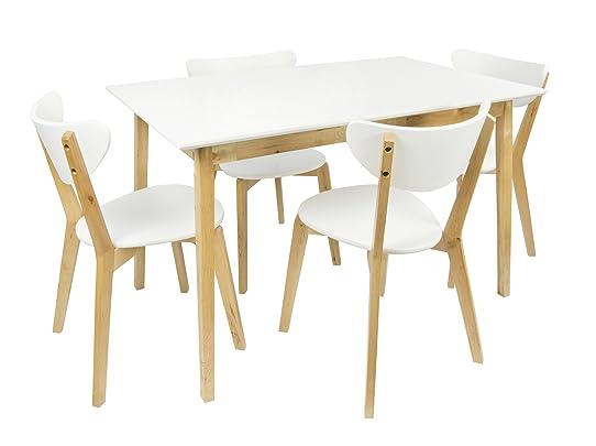 Table En Bois + 4 Chaises Couleur Blanc Naturel Table A Manger