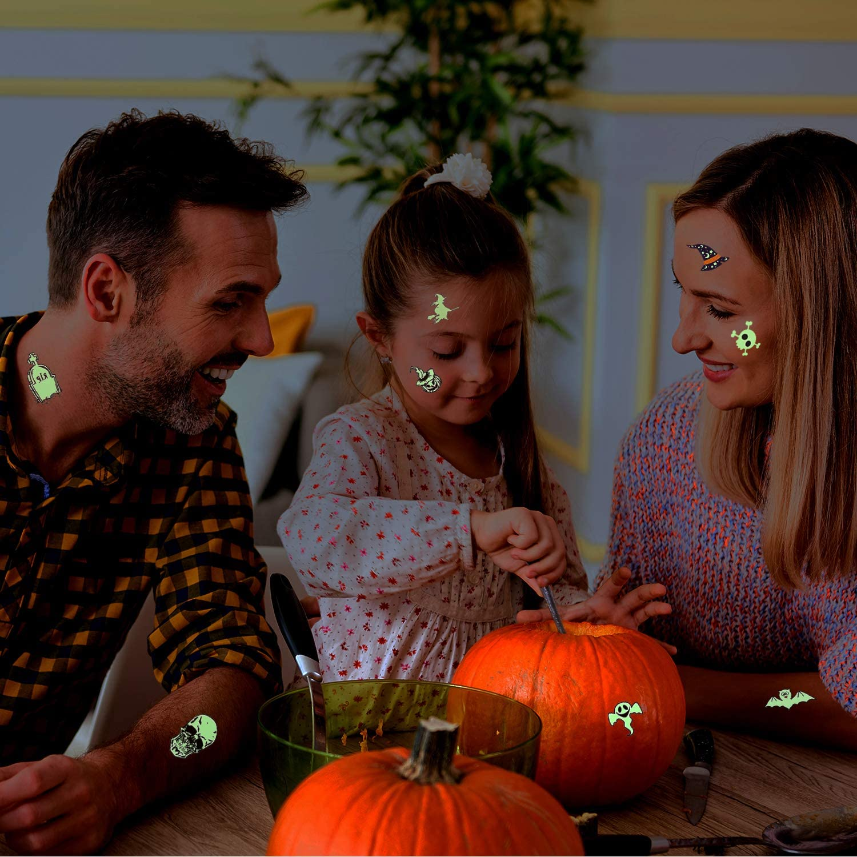 Amazon.com: Joyjoz - Tatuajes de Halloween que brillan en la ...