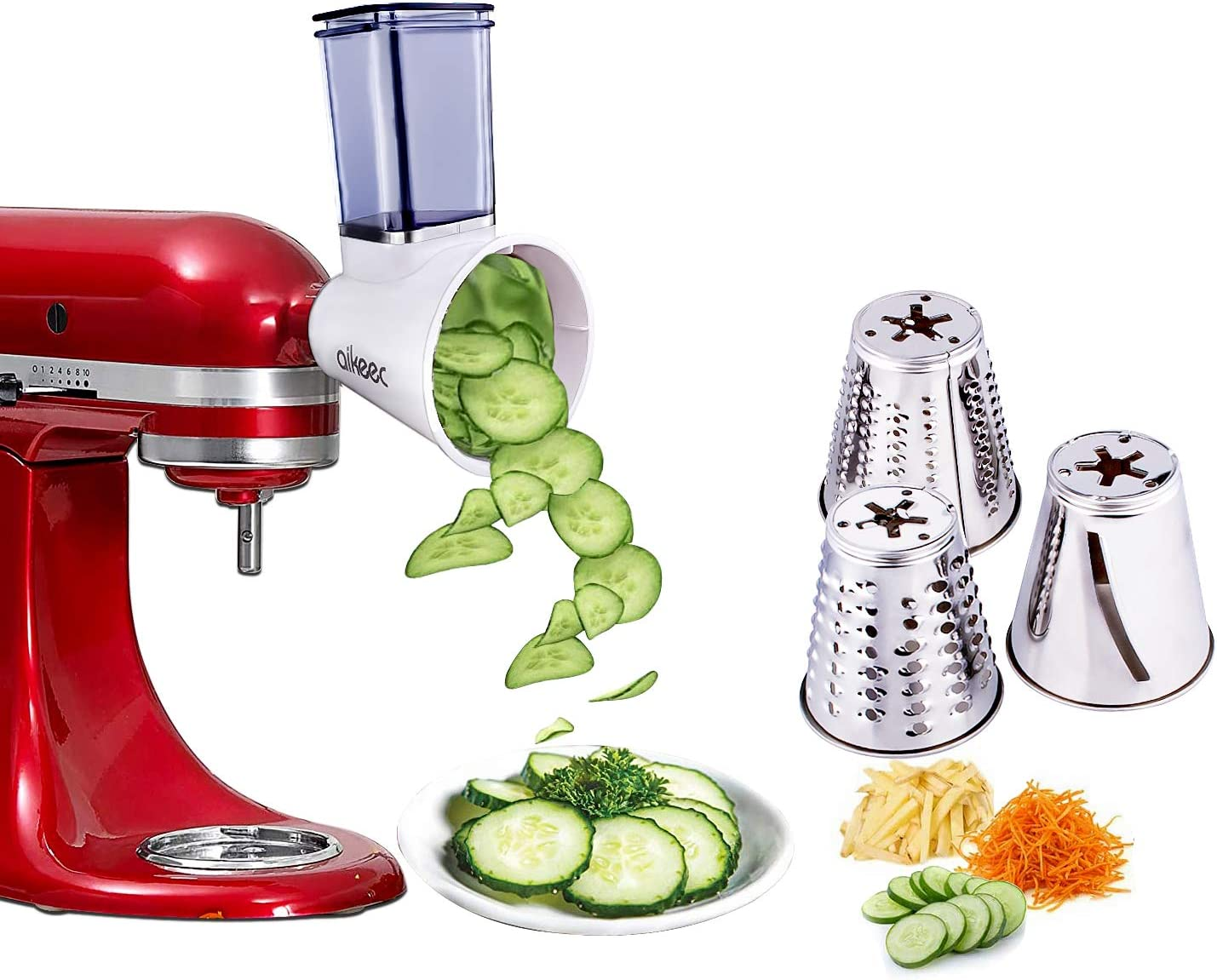 Slicer//Shredder Attachment for KitchenAid Stand Mixers as Vegetable Chopper Accessory Salad Maker by Cofun White