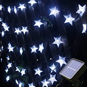 Mankinlu Solar Star String Lights,Outdoor Solar Powered Star Shaped Twinkle Fairy String Lights,24.5ft 50LEDS 8Modes Waterproof Christmas Starry Lights String for Gardens, Patio, Lawn,Xmas tree,White.