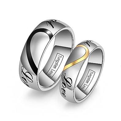 Partnerringe schwarz wolfram  JewelryWe Schmuck 1 Paar Wolfram Wolframcarbid LOVE Herz ...