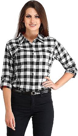 399c4a2f9f women Black-white big check shirt (Cotton/Rayon)