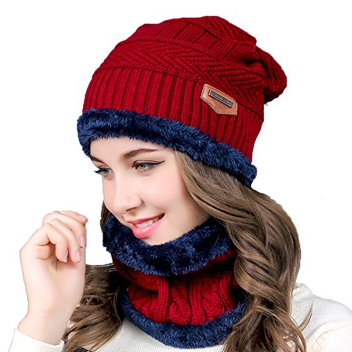 Loistu 2-in-1 Winter Beanie Hat Scarf Set,Warm Knitted Hat with Fleece Liner, Outdoor Sports Skull Cap for Men & Women
