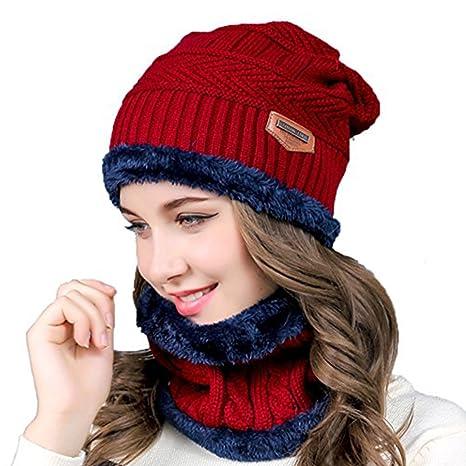 2fe76a9801e2 LoiStu 2-en-1 Winter Beanie Hat Set Echarpe, Chapeau Chaud tricoté avec