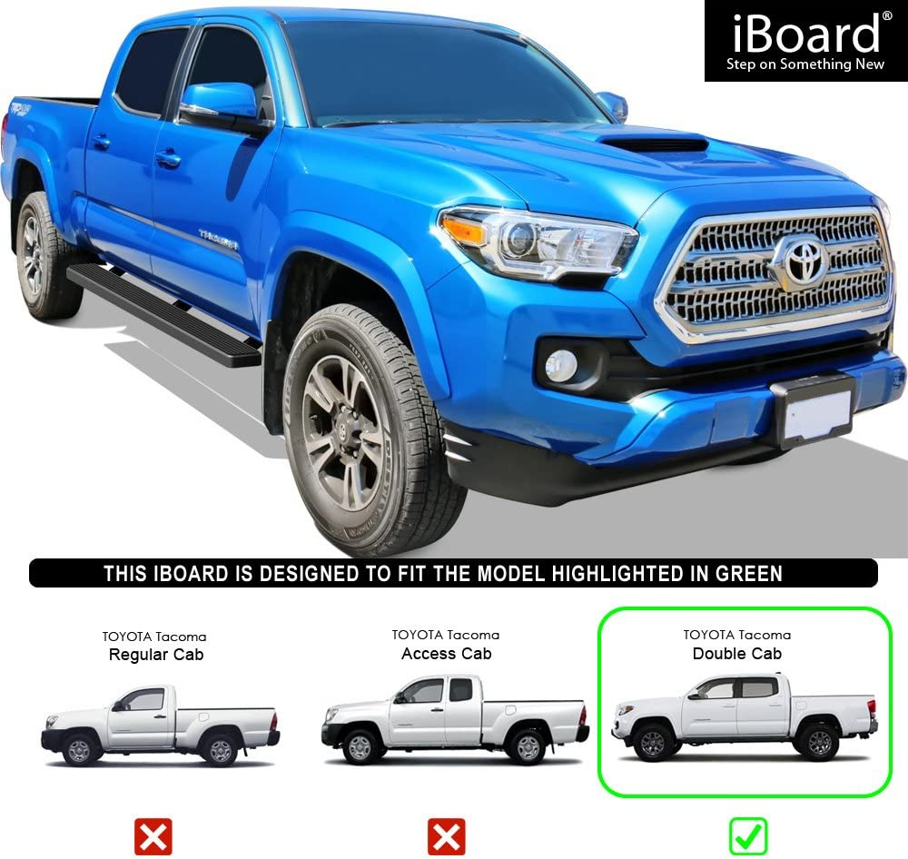 APS IBTZ5941 Black 4 Running Board Side Step iBoard Third Generation, for Selected Toyota Tacoma Double Cab//Crew Cab, Aluminum