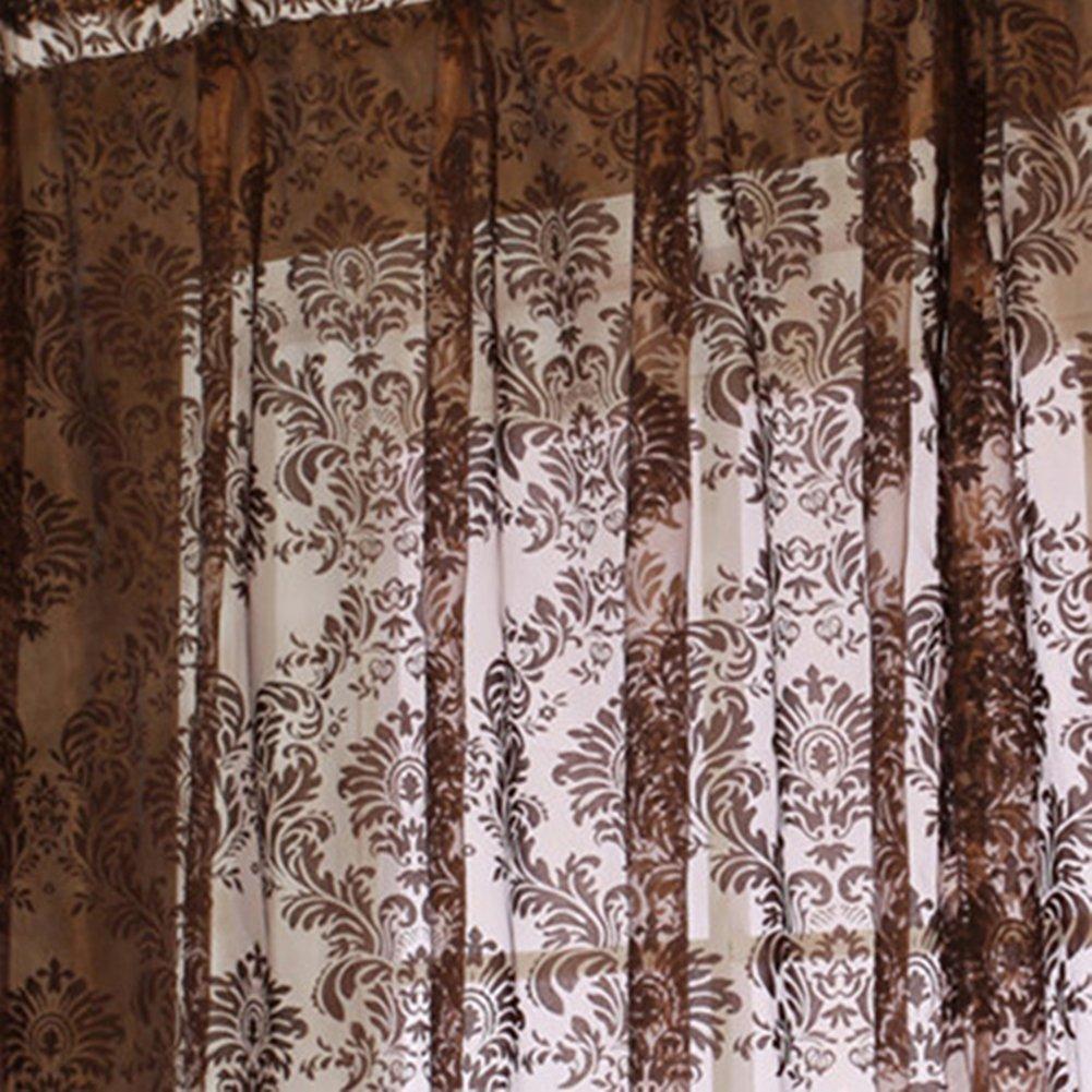 Pueri Lot de 2 Rideaux Voilage Marron D/écoration Fen/être en Voile Transparent Voilage Salon Chambre 100*200cm