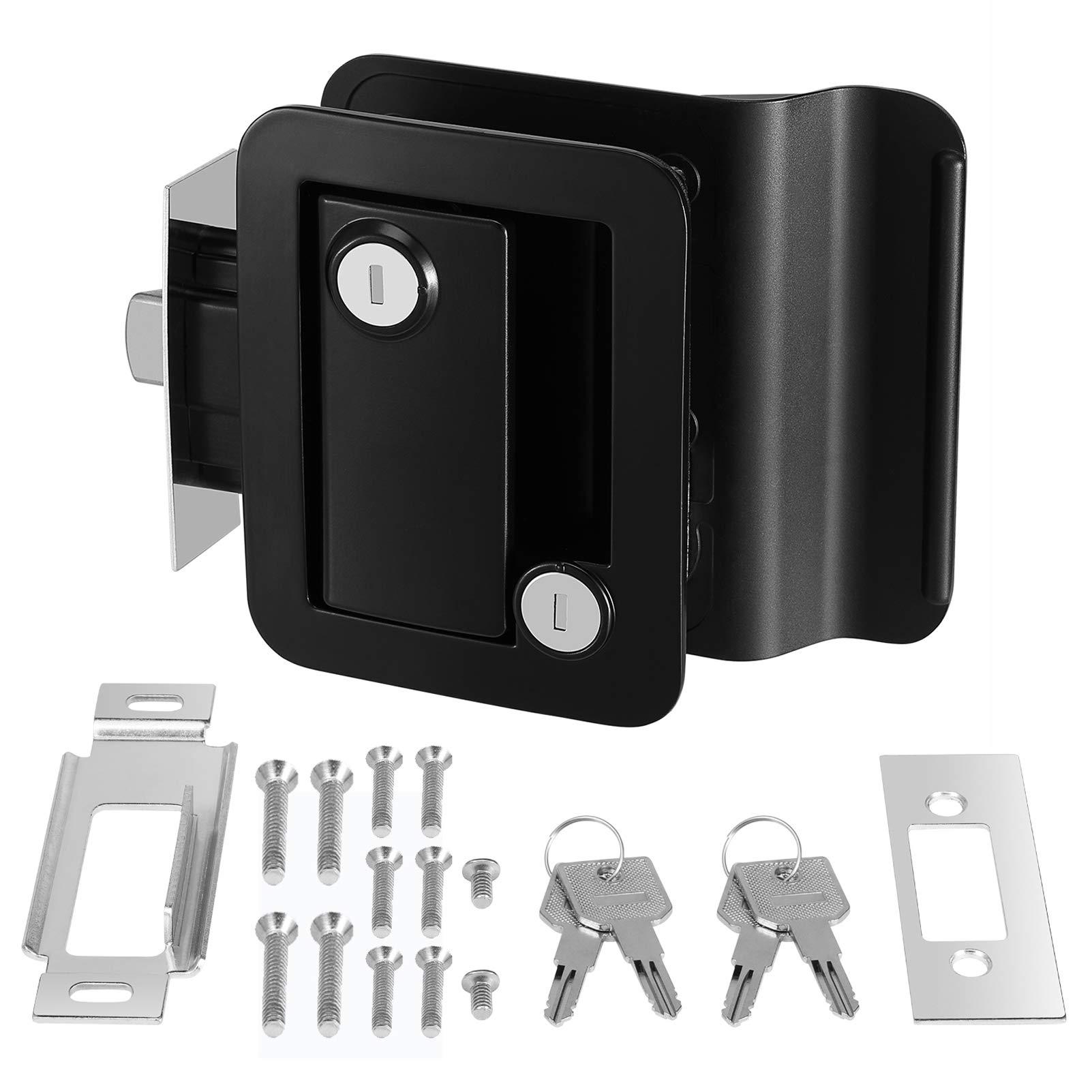 Kohree RV Travel Trailer Entry Door Lock with Paddle Deadbolt, Polar Black Camper Door Latch Handle with Keys RV Door…