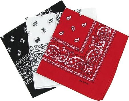 Black White /& Red Paisley Patterned Bandana Neckerchief
