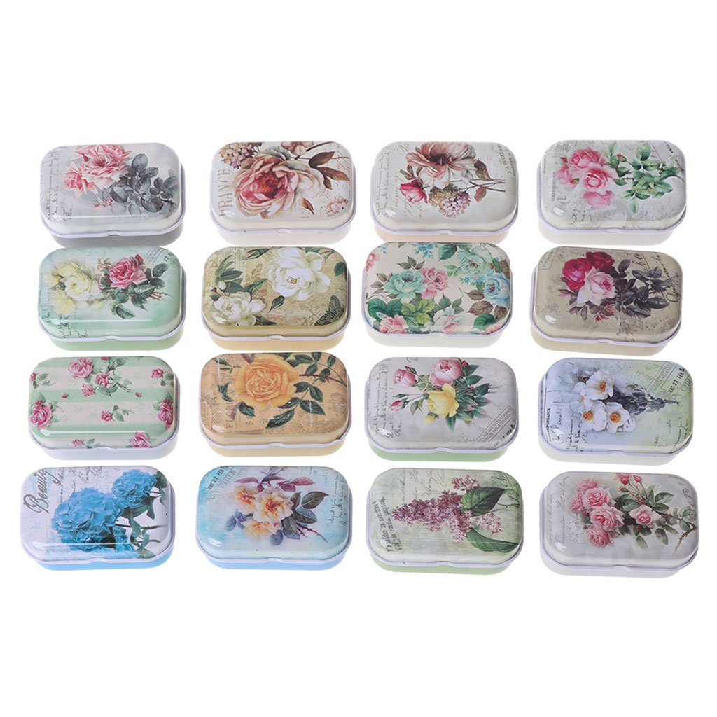 Retro Floral Pattern Metal Tinplate Case Jewelry Pill Candy Storage Box