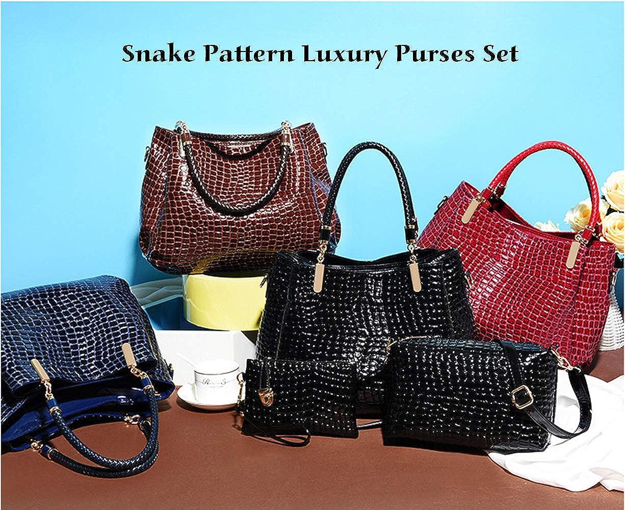 Lot de 3 sacs /à main tendance pour femme en cuir verni texture crocodile