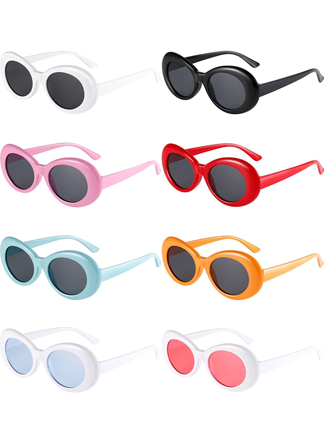 Gejoy 8 Pairs of Clout Oval Goggles Retro Kurt Mod Thick Frame Round Lens Sunglasses Goggles 8 Colors for Women Men (color 1)