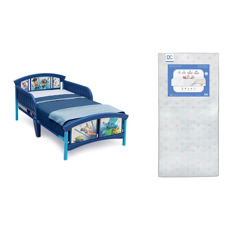 Delta Children Plastic Toddler Bed, Disney/Pixar Toy Story 4 + Delta Children Twinkle Galaxy Dual Sided Recycled Fiber Core Toddler Mattress (Bundle)