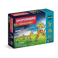 Magformers Creator Neon Color Set (60-Pieces) Magnetic Building Blocks, Educational Magnetic Tiles Kit , Magnetic Construction STEM Set