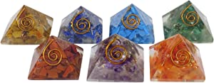 HARMONIZE Mustistone 7 Pieces Balancing Therapy Healing Crystal and Copper Orgone Pyramid Energy Generator with Chakra Symobol Home Office Décor Accessories