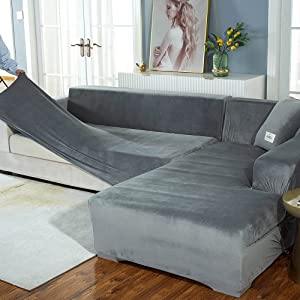 High Stretch Sofa Slipcover L Shape for Living Room,Sofa Covers Sectional Sofa Set for 1 2 3 4 Seater,Couch Covers for Dogs Cats Pets,Ultra Soft Rich Comfortable Furniture Protector Covers for Kids(C