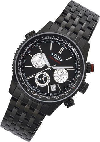 Rotary Gents Reloj GB03778/04 Multi Dial chronospeed cuarzo cronómetro Negro: Amazon.es: Relojes