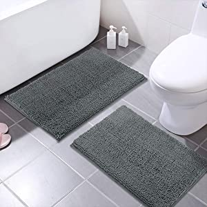 MAYSHINE Bath Mats for Bathroom Rugs Non Slip Machine Washable Soft Microfiber 2 Pack (20×32 Inches, Gray)