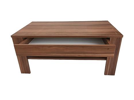 Möbel SD Couchtisch mit Schublade Wohnzimmertisch Kaffeetisch (EWA) Nussbaum
