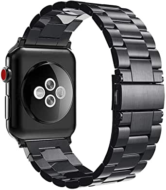 for Apple Watch 44mm 42mm, Stainless Steel Metal Replacement Wrist Strap Bracelet Compatible with Apple Watch Series 4 3 2 1 Sport Nike/Edition - Black