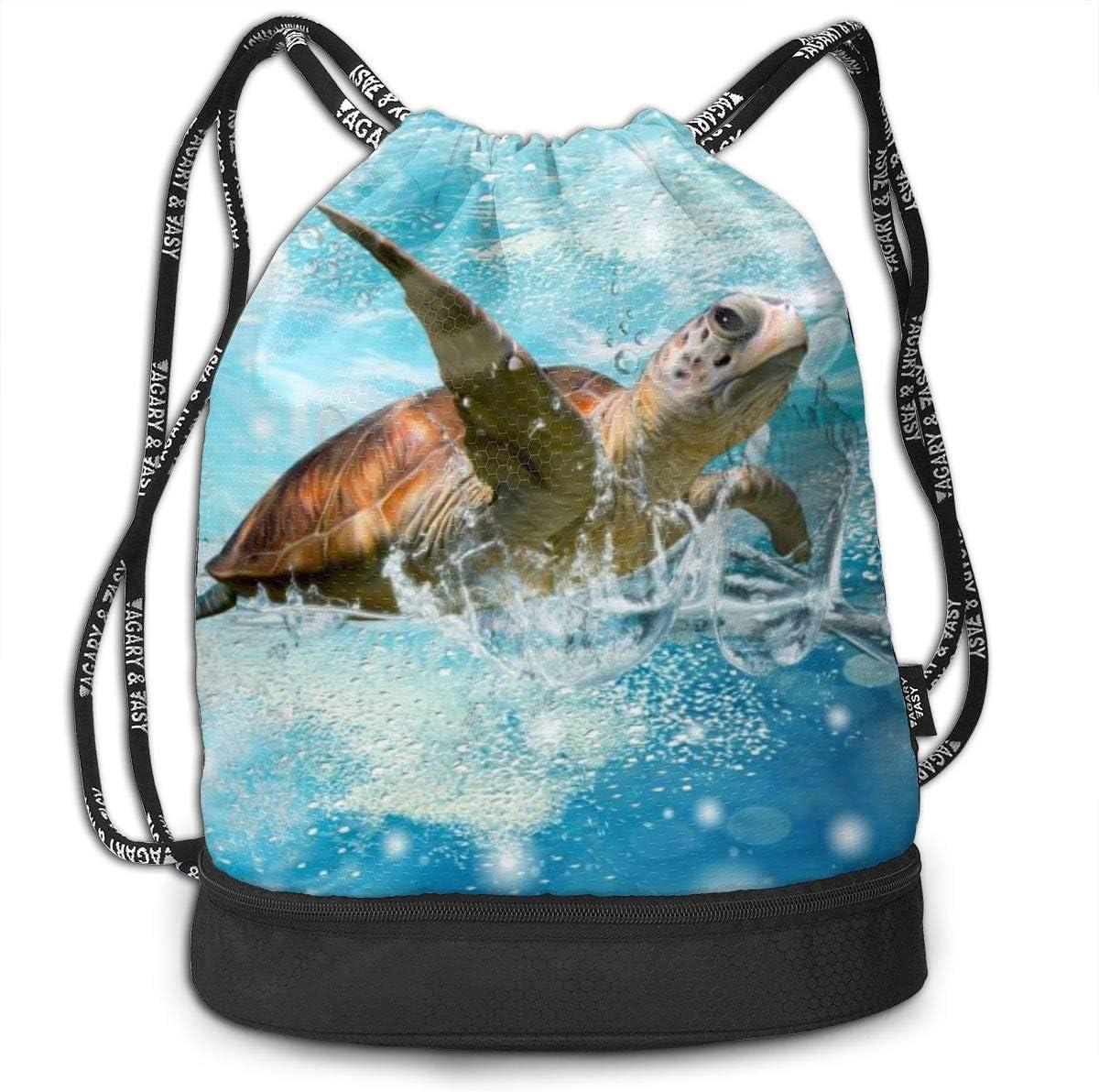 GymSack Drawstring Bag Sackpack Roaming Turtle Sport Cinch Pack Simple Bundle Pocke Backpack For Men Women