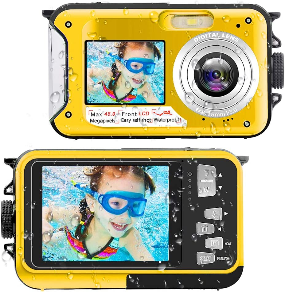Underwater Camera Yellow 16X Digital Zoom and Self-Timer Waterproof Camera Full HD 2.7K 48MP Waterproof Camera Digital with Dual Screen