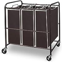 Simple Trending Heavy Duty 3-Bag Laundry Hamper Sorter Cart with Rolling Wheels, Bronze