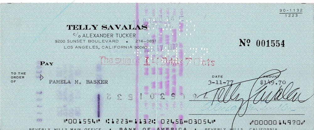 Telly Savalas Kojak Beckett Certifiedated Signed Autographed Certified Bank Check