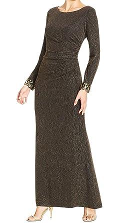 Patra Womens Metallic Prom Evening Dress Gold 10 At Amazon Womens