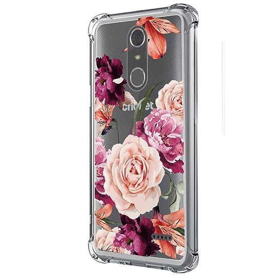 wholesale dealer f6bac 7588e ZTE Grand X4 Case,ZTE Blade Spark Case (Z971),ZMax One Case  (Z719DL),Z956,LUOLNH Slim Shockproof Clear Floral Pattern Soft Flexible TPU  Back Cover ...