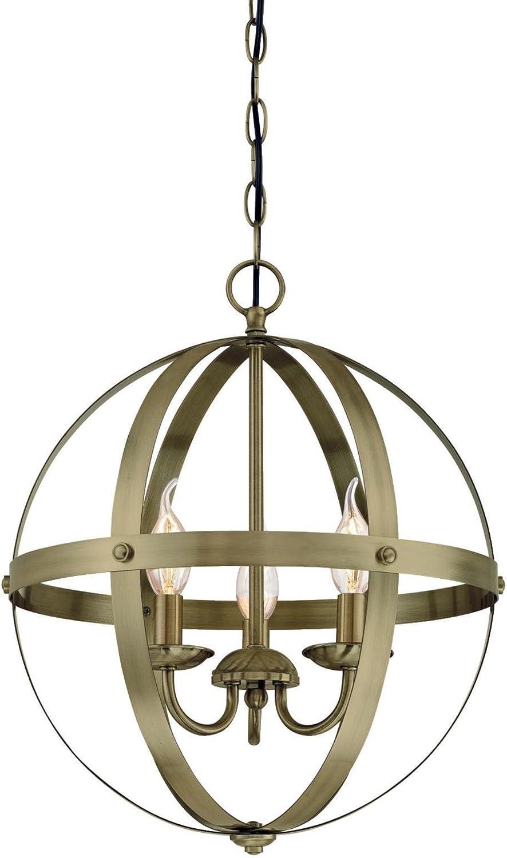 Westinghouse Lighting 6353700 Stella Mira Three-Light Indoor Chandelier, Pendant, Antique Brass