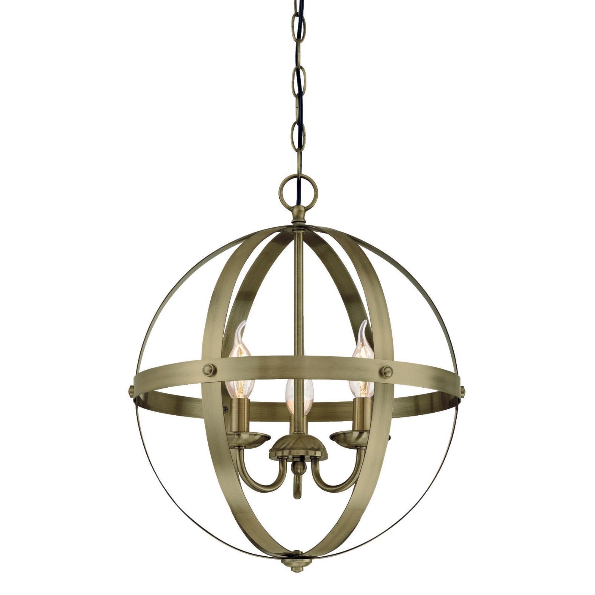 Westinghouse  6353700 Stella Mira Three-Light Indoor Chandelier, Antique Brass Finish