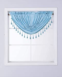 Gorgeous Home Linen (RS8) 1 Short Decorative Rod Pocket Foam Lined Blackout Silk Swag Waterfall Window Curtain Valance for Kitchen, Living Room, Bedroom, Nursery, Basement & Bathroom (Teal)