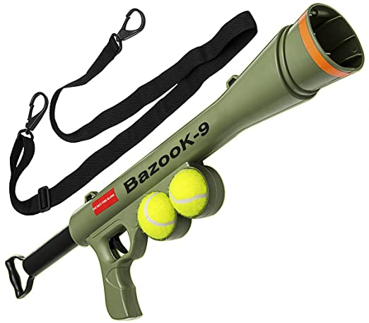 BazooK-9 Tennis Ball Launcher Gun - Rated Best Dog Toy - Includes 2 Squeaky Balls for a Bazooka Semi Automatic Blast