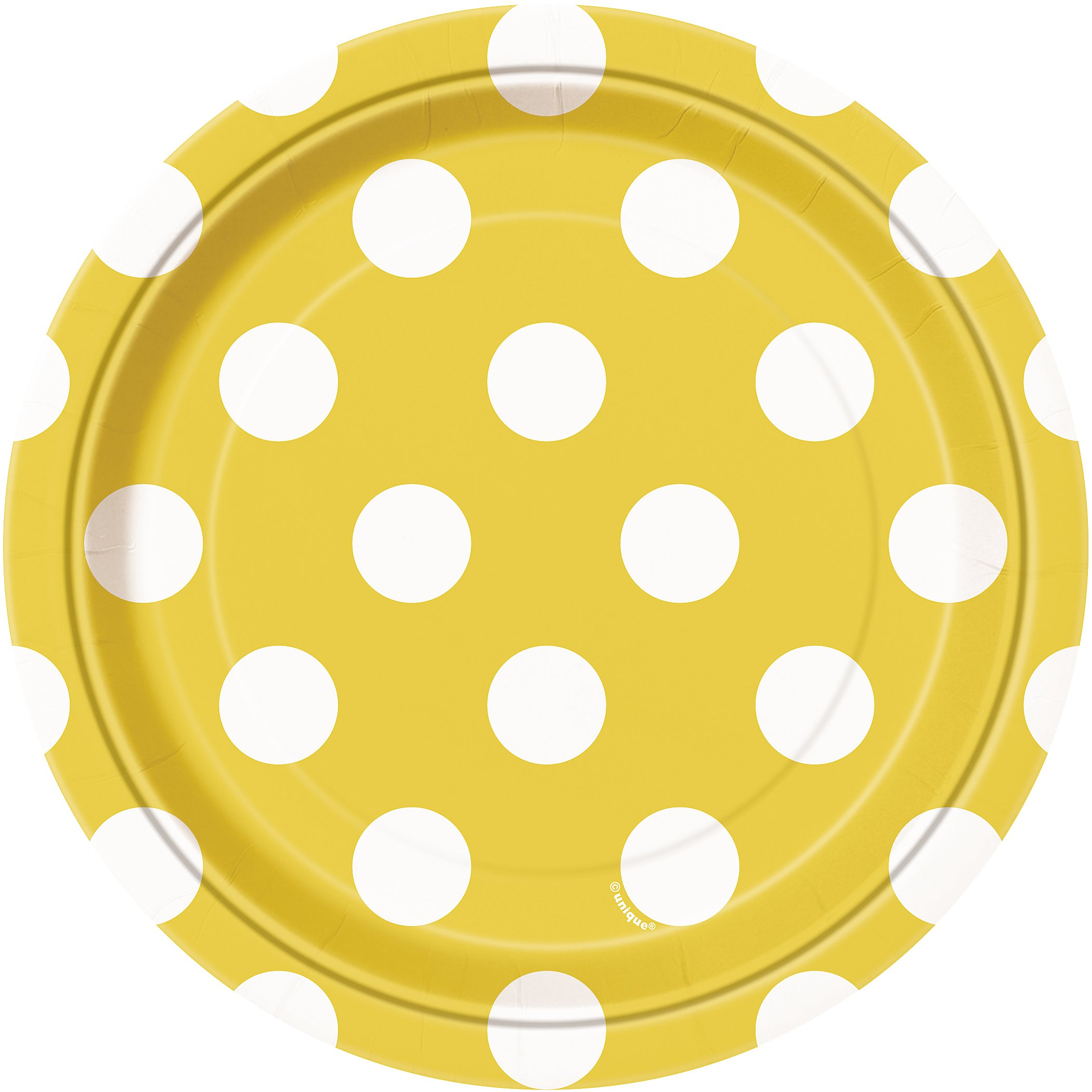 Yellow Polka Dot Paper Cake Plates, 8ct by Unique (Image #1)