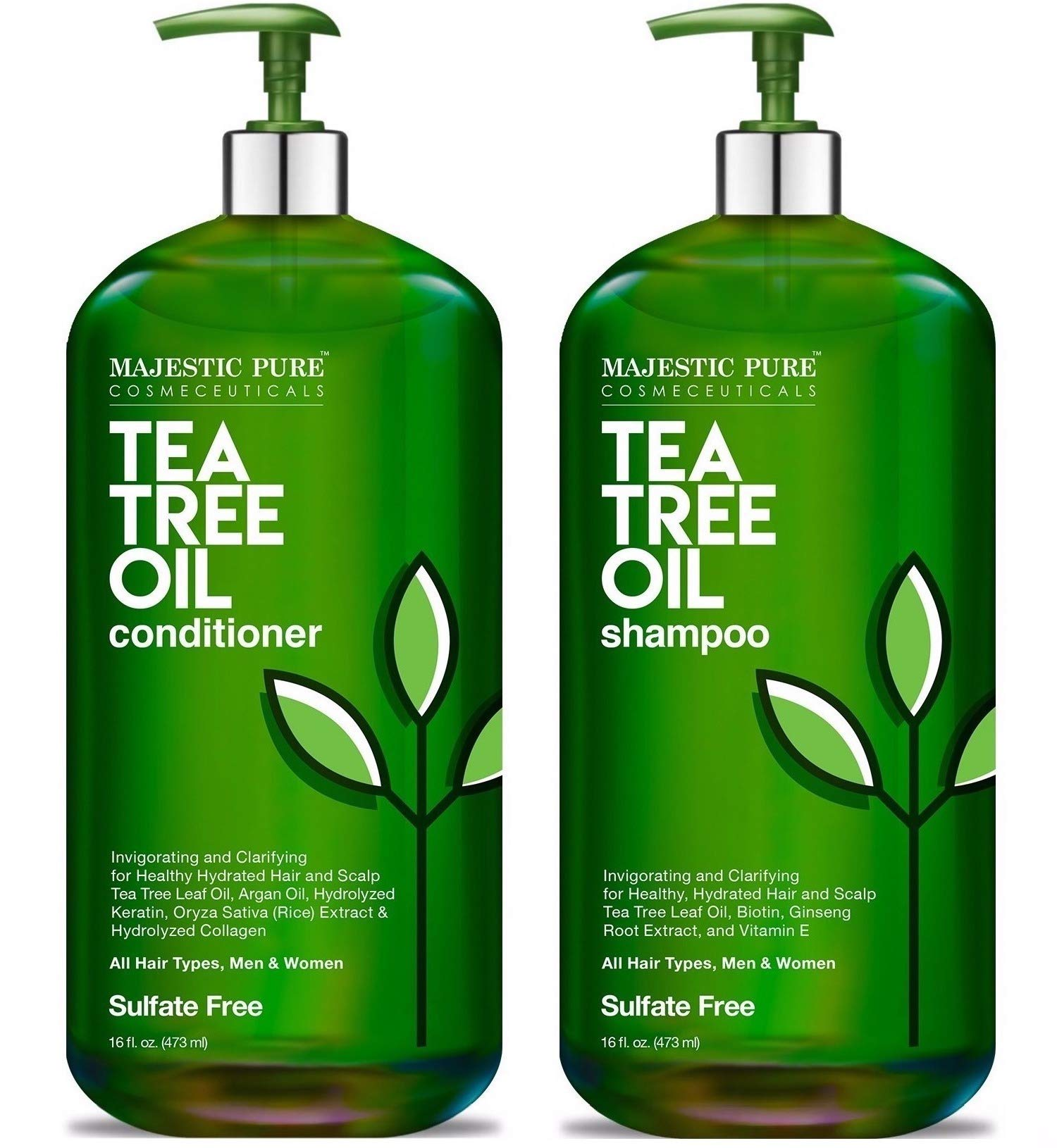 MAJESTIC PURE Tea Tree Shampoo and Conditioner Set for Men and Women -16 fl oz each - Hydrating and Fighting Dandruff, Lice and Itchy, Irritating or Dry Scalp - For All Hair Types - Sulfate Free by Majestic Pure