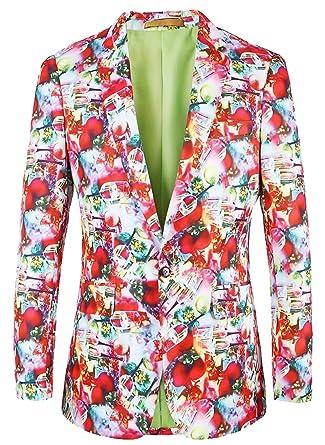 jaycargogo mens christmas print one button blazer suits jackets at amazon mens clothing store - Christmas Jackets