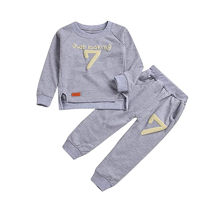 9fb7a65607c2 puseky Toddler Baby Boy Girls Sweatshirt Top+Pants Outfits ...