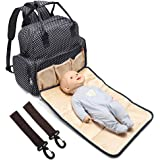 All in One Backpack Diaper Bag Waterproof Baby Nappy Bag Mom Bag for Mom and Dad Fit Stroller - with Changing Pad & Stroller Straps - Large Capacity 13.4 X 13.4 X 4.7 Inch, 14 Pockets, Black