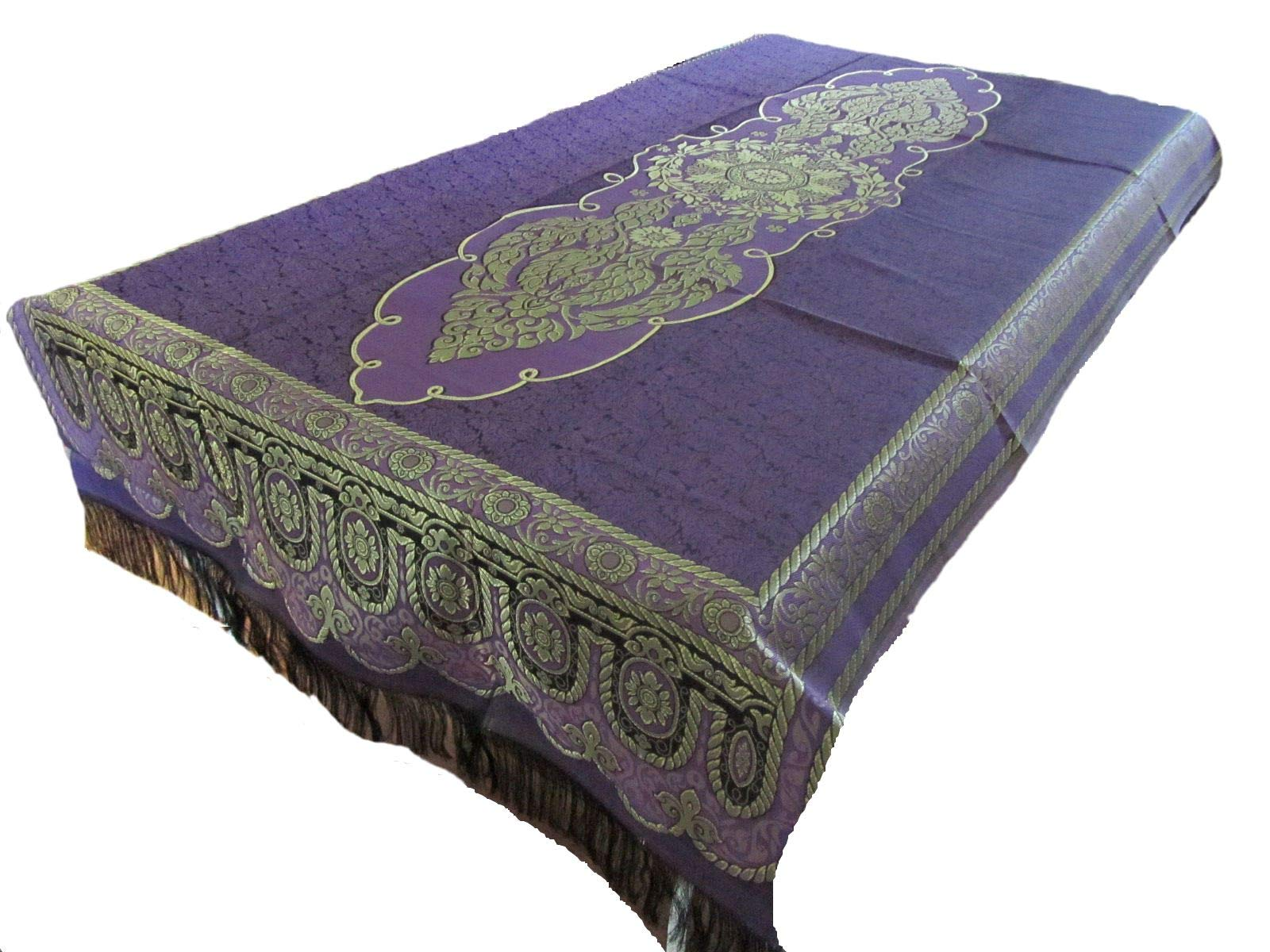 Blue Orchid Gold Floral Vine Table Cloth with Fringe Luxurious Polyester Embroidered Reversible Thai Tablecloth for Rectangular Tables 80'' x 40''