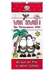 Die Geschenkewelt Sheepworld 45988 partner-Kalender 2020, Wand-Kalender für zwei, Rot