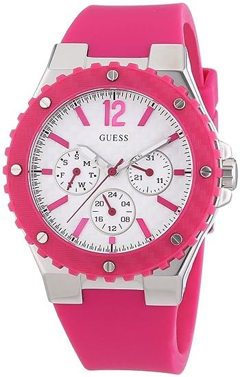 Guess - Reloj analógico de cuarzo para mujer con correa de silicona, color rosa: Amazon.es: Relojes