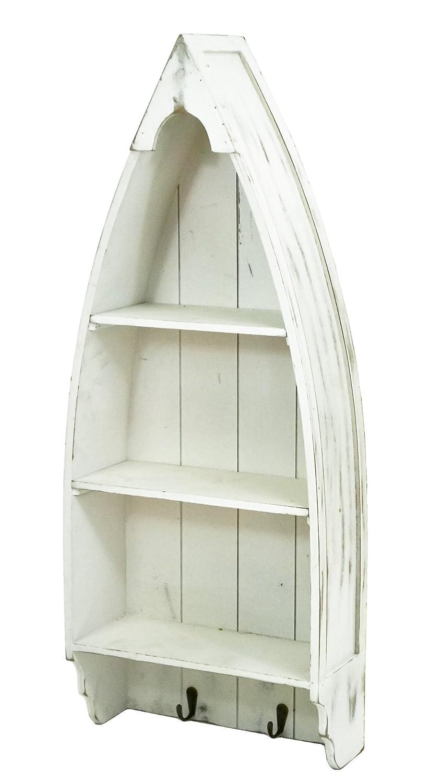 Large Boat Shaped Wall Shelf Storage Unit Vintage Nautical Coastal Rustic Decor | eBay