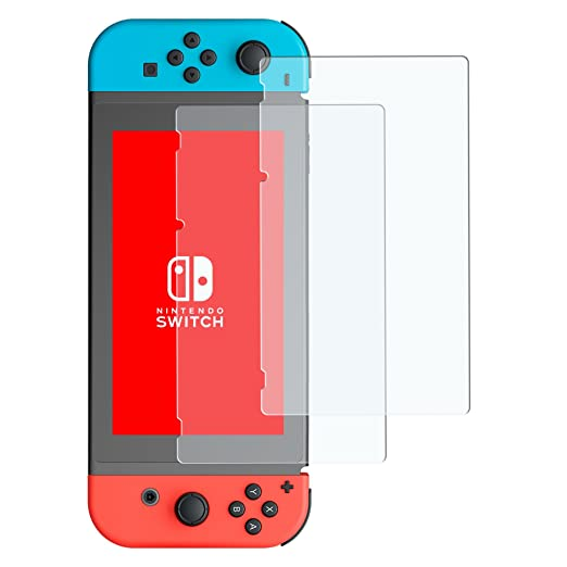 Nintendo Switch Screen Protector, Veckle 2 Pack Tempered Glass Screen Protector Easy to Install and Bubble Free, HD Anti Scratches Glass Screen Protector for Nintendo Switch 2017