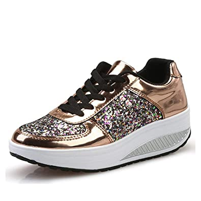Amazon.com | experiment Women S Vulcanize Shoes Lace Up Wedges Platform Shoes Lady Casual Sneakers Autumn Gold Tenis Feminino | Shoes