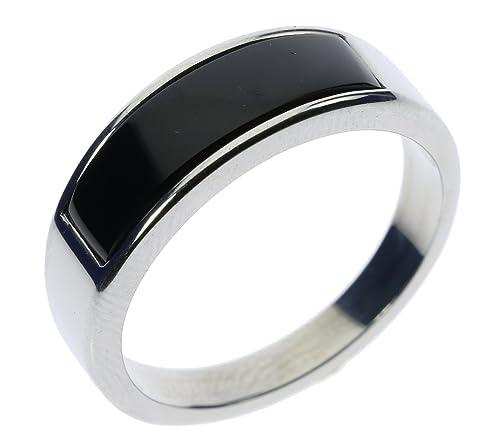 1b85c3da7 Slim Black Onyx Stainless Steel Mens Ring Size 13|Amazon.com