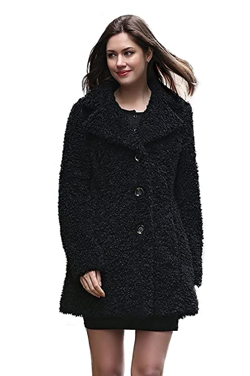 Adelaqueen Faux Fur Coat Jacket Women Black Long Sleeve Coat Jacket Large Winter Coat Clothing Plus Fluffy Fake Fur Coat Thick Cheap Fashion Faux Fur Lady Coat Outerwear Shaggy Fuzzy Elegant Coat XS