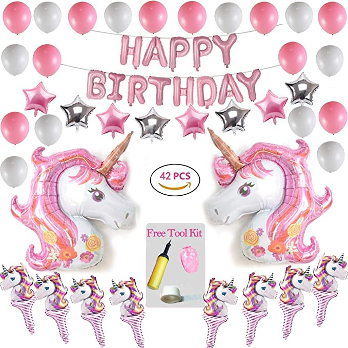 Danolt Unicorn Theme Party Kit 42 Piezas con Happy Birthday ...