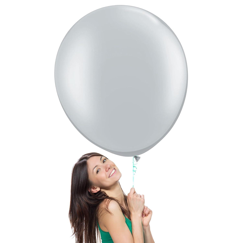 (90cm Pack of 3, Metallic Silver) - 90cm Giant Jumbo Latex Balloons (Premium Helium Quality), Pack of 3, Regular Shape - Metallic Silver   B015MZFWOQ