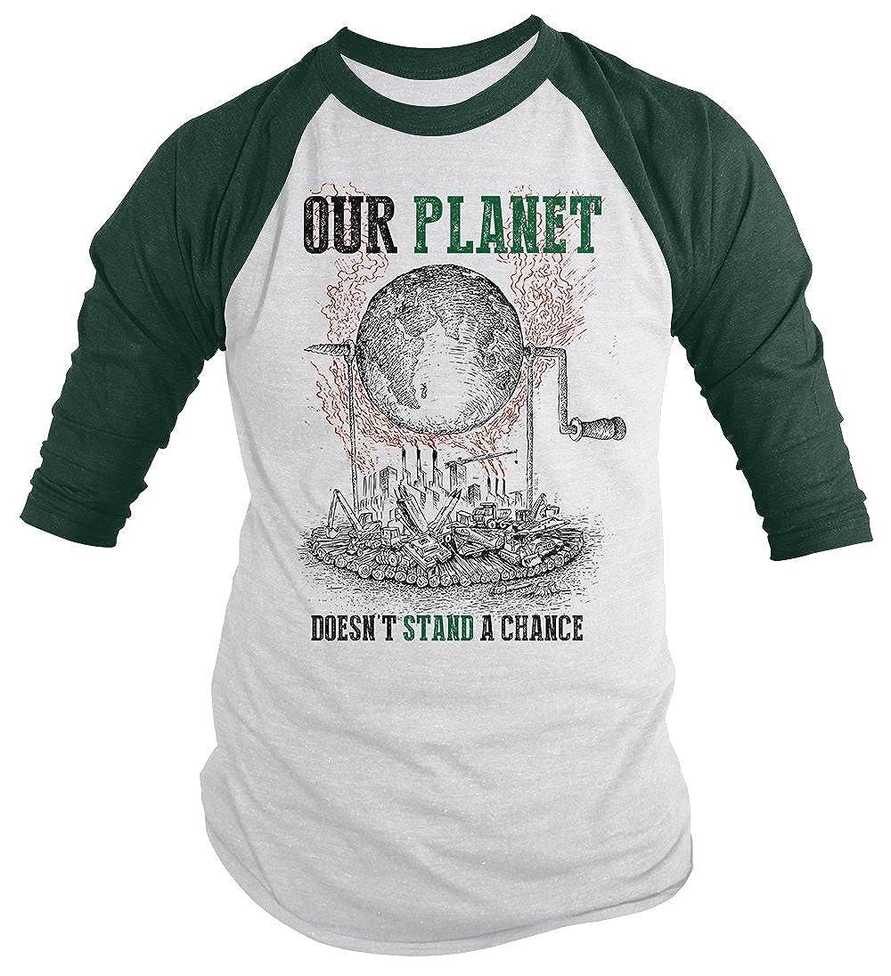 4ff264c642b Amazon.com  Shirts By Sarah Men s Earth Day T-Shirt Dying Planet Industrial  Pollution Shirts Save 3 4 Raglan  Clothing
