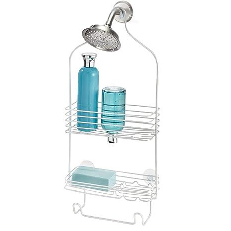 InterDesign Classico colgador ducha con 2 cestas   Perchero baño para colgar en la bañera   Portaobjetos ducha con ventosas   De metal color blanco